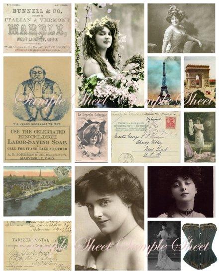 Paris Papers Digital Collage Sheet
