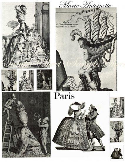Big Hair Marie Antoinette Funny Digital Collage Sheet EC145