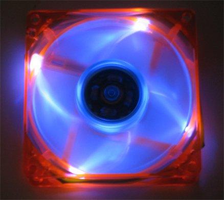 Quiet 80MM UV LED Orange Blue Glow Case Fan