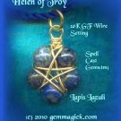 PENTAGRAM/PENDANT/Spell Cast Gems(tm)/Helen of Troy/Wicca Supplies/Pagan/Star/Lapis/GoldF/Gem Magick