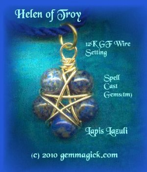 PENTAGRAM/PENDANT/Spell Cast Gems(tm)/Helen of Troy/Wicca Supplies/Pagan/Star/Lapis/GoldF/Gem Magick
