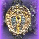WINGED GODDESS/ Necklace/ Pagan Rosary/ Steampunk/ Gothic/ Scrying Mirror/ Pendulum/ Box/ Altar