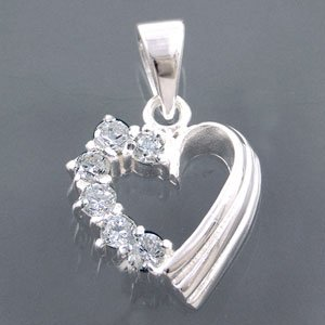 White CZ Sterling Silver Heart Pendant