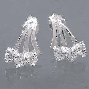 White CZ sterling earrings