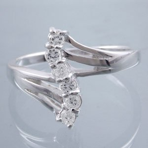 Silver and CZ bypass ring