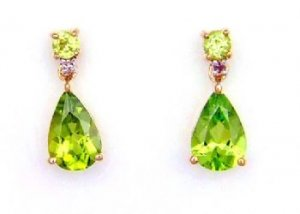 2.47ct Peridot Diamond Dangle Earrings 10KT Yellow Gold