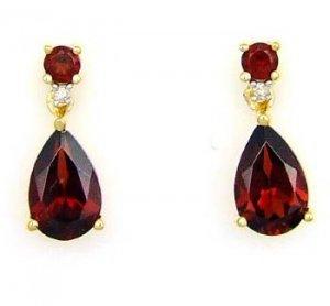 2.87ct Garnet Diamond Dangle Earrings 14KT Yellow Gold