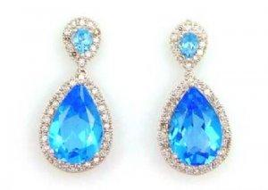 Blue Topaz Diamond Dangle Earrings 14KT White Gold
