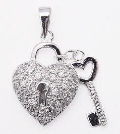 CZ Heart Lock & Key Pendant