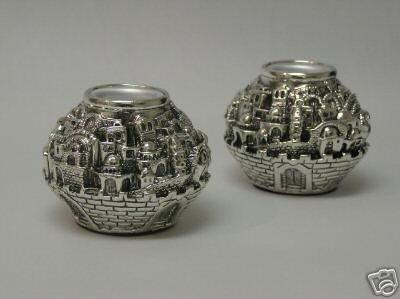 Sabbath Silver Plated Jerusalem Candlestick Balls