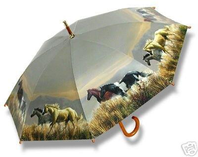 Horse Lovers Hautman Horses Umbrella Wood Handle