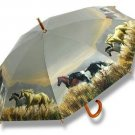 Horse Lovers Hautman Horses Umbrella Wood Handle