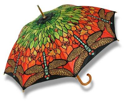 Exquisite Colors Dragonfly Umbrella Wood Handle