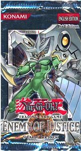 Yugioh Enemy of Justice 1st Edition Booster Pack containing 9 Yugioh Cards