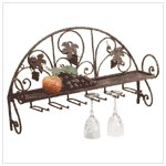 #34277 Metal and Grapes Wall Shelf/Wine Glass Holder