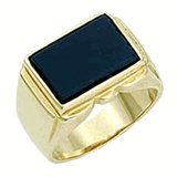 18kt Gold Plated Ring with Genuine Onyx Stone Size 10