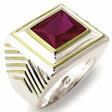 18kt Gold Plated Ring with Red Stone Size 12