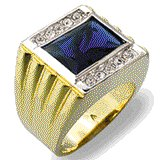 18kt Gold Plated Ring with Blue Stone Size 12