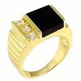 18kt Gold Plated Ring with Genuine Onyx Stone Size 9