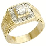 18kt Gold Plated Ring 17 clear diamond look stones Size 12
