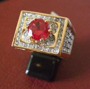 18kt Gold Plated Ring with red stone Size 13