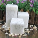 Set of 3 Cubic Candles without scent in wood grain style #4