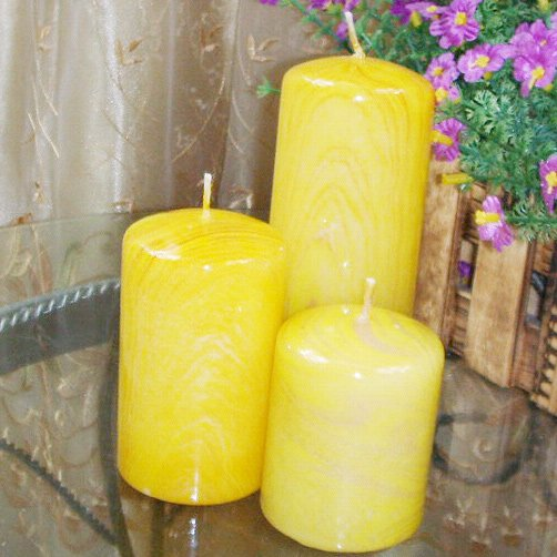 Set of 3 Cylinder Candles without scent in wood grain style #5