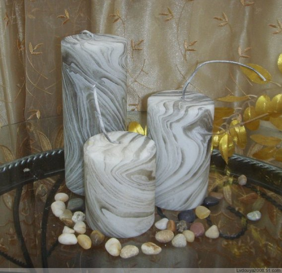 Set of 3 Cylinder Candles without scent in wood grain style #6