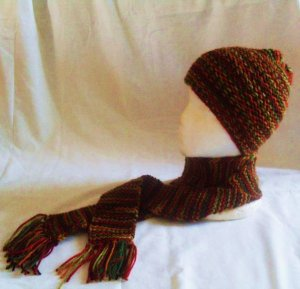 Adult Knit Autumn Hat and Scarf Ensemble
