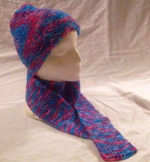 Knit BonBon Hat and Scarf Ensemble
