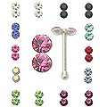 20pcs. Double Jeweled Silver Nose Studs