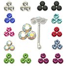 20pcs. Triple Jeweled Silver Nose Studs