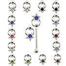 20pcs. Jeweled Star CBR Silver Nose Studs