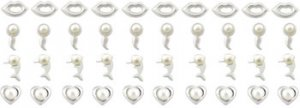 40pcs. Pearl Jeweled Silver Nose Studs