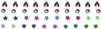 40pcs. Jeweled, Handpainted Silver Nose Studs
