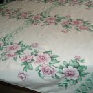 VINTAGE TABLECLOTH PINK FLORALS RIBBONS DETAILED BORDERS