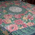 VINTAGE TABLECLOTH COLORFUL HUGE FLOWERS