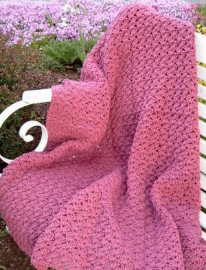 HAND CROCHETED AFGHAN LIGHT RASPBERRY PINK