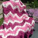 HAND CROCHETED AFGHAN LACY PINK AND CREAM RIPPLES