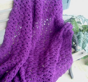HAND CROCHETED AFGHAN IN DARK ORCHID