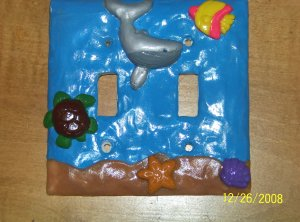 Handmade Polymer Ocean Light Swich Cover