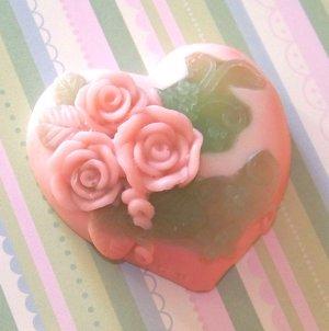 3 Handmade Customized Rose Heart, Goats Milk Soaps 6oz each [FREE SHIPPING]