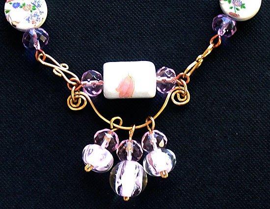 """Porcelain Flowers"" Porcelain & Crystal Necklace - FREE SHIPPING!"