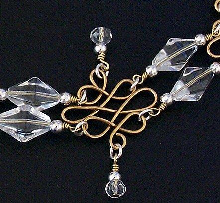 Sterling Silver, Crystal & Brass Celtic Loop Bracelet - FREE SHIPPING!