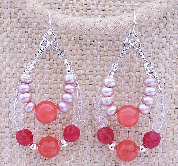 Ruby Quartz, Sunset Chalcedony & Pearl Double Loop Earrings - FREE SHIPPING!