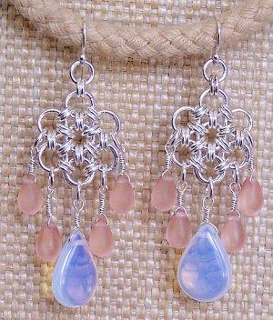 Sterling Silver Japanese Daisy Chandelier Earrings - FREE SHIPPING!