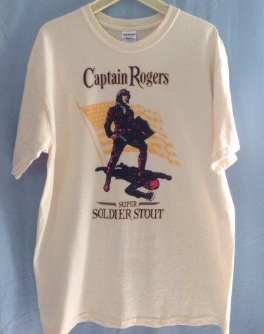 (L) Captain Rodgers Super Soldier Stout Tee Shirt Adult Size Large