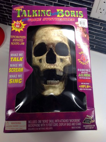 Talking Boris Halloween Skull Animated Jaw Prop Microphone Voice FX Glow Teeth