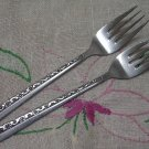 ROGERS Co DANISH MODE or FLORAL MOTIF 2 SALAD FORKS STAINLESS FLATWARE SILVERWARE