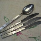 CARLTON CAS 2 CAS2 SERVING SPOON &3 KNIVES STAINLESS FLATWARE SILVERWARE